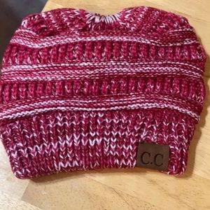 CC Messy Bun or Ponytail Beanie Red